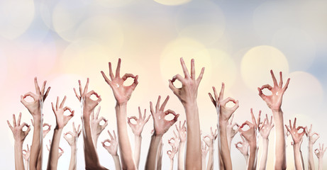 Group of people rise hands . Mixed media