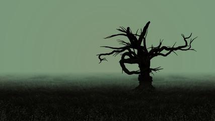 Dark Horror Spooky tree. Halloween Dark Night Background.