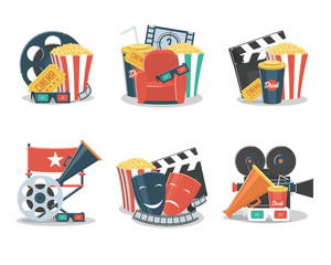Set of cinema and film concepts illustration with movie theater elements.