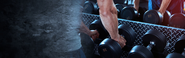 Hands with dumbbells