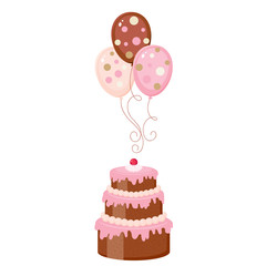 Chocolate cake with balloons, isolated