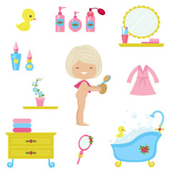 Bath time icons set