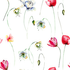 Seamless wallpaper with daisy flowers