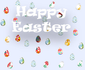 Greeting card with Happy Easter and rain with Easter eggs