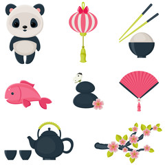 Oriental culture icons set vector illustration.