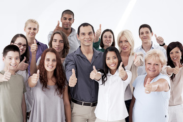 Multi-Ethnic Group Thumbs Up