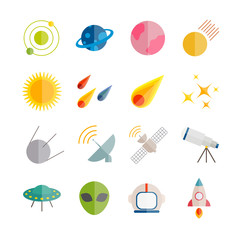 Collection of vector flat space icons. Colorful flat icons for web, print, mobile apps