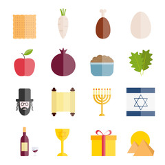 Collection of flat icons of Jewish holiday Passover