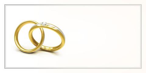 Karte zur Einladung zur Hochzeit mit zwei Ringen - Freiraum für Text