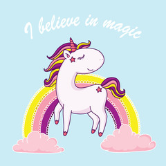I believe in magic unicorn illustration
