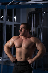 beautiful, powerful, strong man posing at the gym