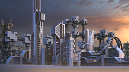 Fotomurales - 3D Illustration of a futuristic city skyline architecture with skyscrapers and modern glass structures, for fantasy or science fiction backgrounds