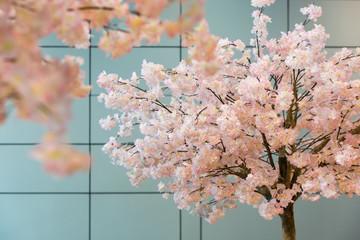 Artificial sakura blossom trees Wall mural