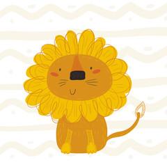 funny cute lion cartoon style. vector print