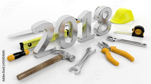 3d Rendering Various Hand Tools With 2018 Text Isolated