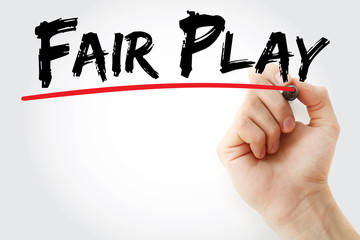 Hand writing Fair play with marker, concept background