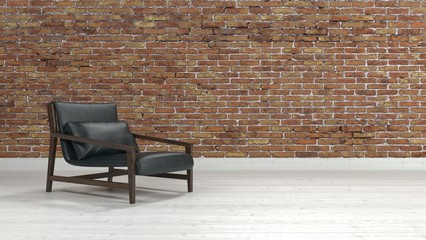 Comfortable modern recliner chair in a brick room