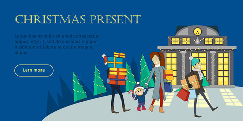 Christmas Present Flat Style Vector Web Banner