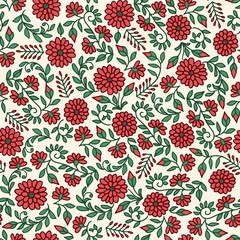 Seamless floral pattern with hand drawn flowers in red and green