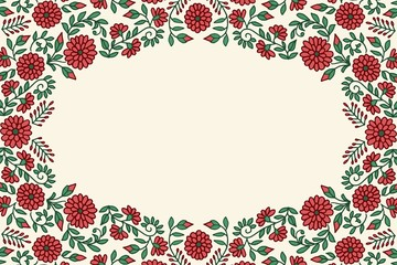 Floral greeting card frame template