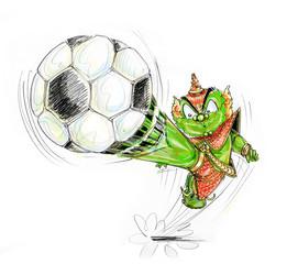 Playing football Thai Giant cartoon