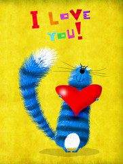 Valentine's Day Card Blue Cat With Big Heart