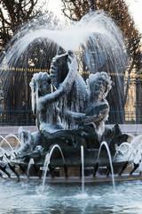 fontaine du bassin soufflot gelée , place edmond rostand, paris