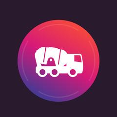 concrete mixer truck icon, round pictogram