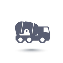 concrete truck icon over white, vector illustration
