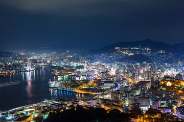 Nagasaki city of Japan at night