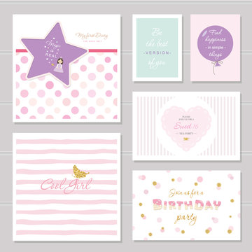 Cute cards design with glitter for teenage girls. Inspirational quotes, birthday, sweet 16 party invitation. Included polka dot and striped seamless patterns.