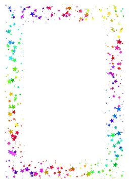 Abstract frame made of colorful stars on white background.  A4 paper size with rainbow colored starry border. Multicolor illustration.