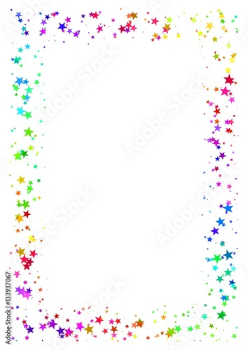 abstract frame made of colorful stars on white background a4 paper size with rainbow colored