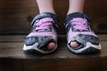 Worn Out Old Shoes with Holes in Toes Homeless Child Wall mural