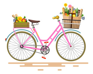 Vector Pink Bicycle - Bike with Flowers and Vegetables on Basket Isolated on White Background.