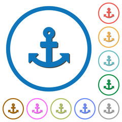 Anchor icons with shadows and outlines
