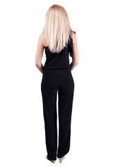 back view of standing young beautiful  blonde