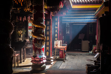 The interior of the Jade Temple in Saigon.
