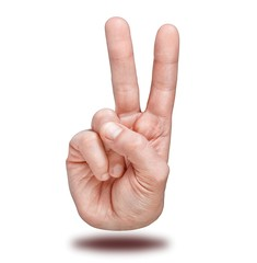 Hand gesture of victory and peace.