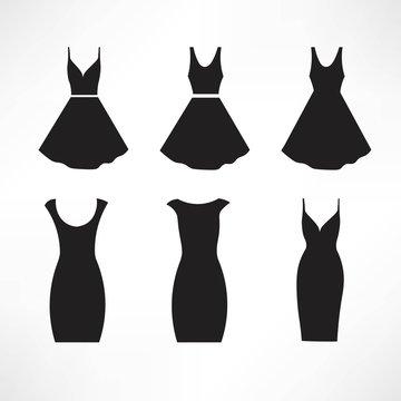 Vintage dresses silhouette vector set