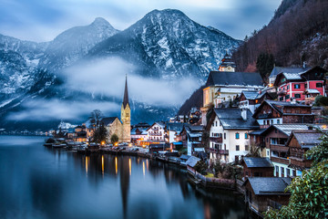 Low cloud around Hallstatt, Austria.