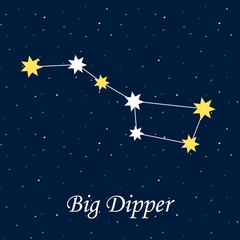big dipper constellation astrology stars night illustration vect