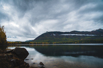 Wall Mural - Lake McDonald on an overcast fall day.