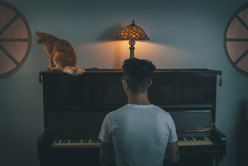 A man playing a piano with a cat sitting on top if it.