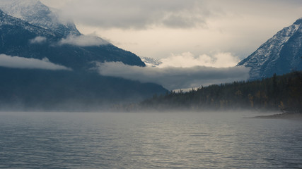 Wall Mural - Foggy morning at Lake McDonald.