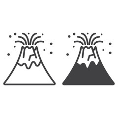Volcano eruption line icon, outline and filled vector sign, linear and full pictogram isolated on white. Symbol,  logo illustration