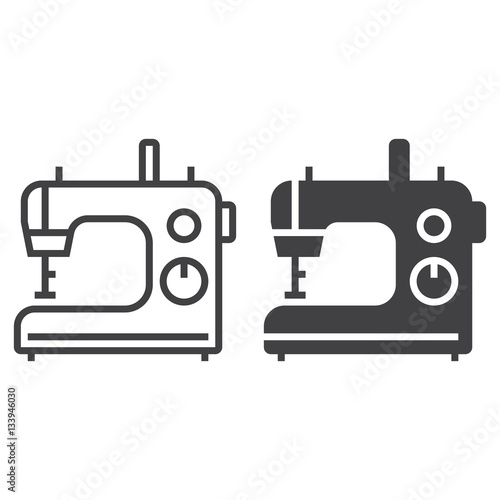 Sewing Machine Line Icon Outline And Filled Vector Sign Linear And