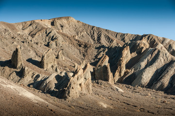 Upstanding rocks at Death Valley near Furnace Creek Inn, CA