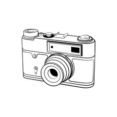 Photo camera sketch on white background