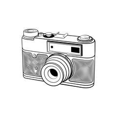 Retro photo camera sketch on white background